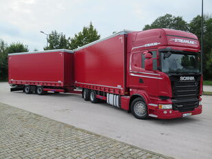 camion cu prelata SCANIA R410 TOP LINE + KRONE, ZESTAW 120 M3 + remorcă prelate