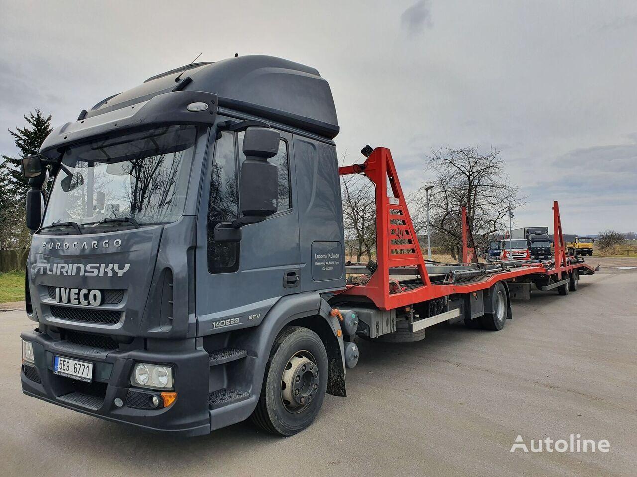 camion transport auto IVECO Eurocargo 140E28 + remorcă transport auto