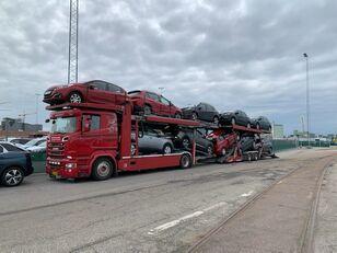 camion transport auto SCANIA 580 V8 KTT Metago/Supertrans 10-Autos Euro6 + remorcă transport auto