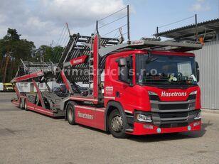 camion transport auto SCANIA P450 Járműszállító csörlővel