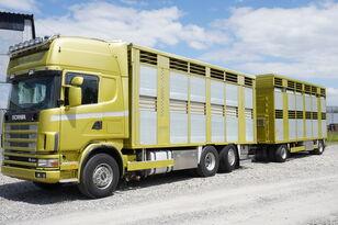 camion transport cai SCANIA R164 V8, 6x2, 2 hydraulic decks, 70m2 , live stock + remorcă transport animale