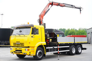 dropside camion KAMAZ 65117 , 6x4 , Crane Fassi 95 , rotator , box 6m