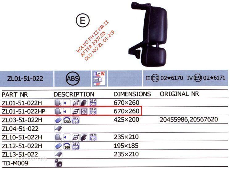 VOLVO 20567637,20567647 oglinda auto pentru VOLVO FH camion nou