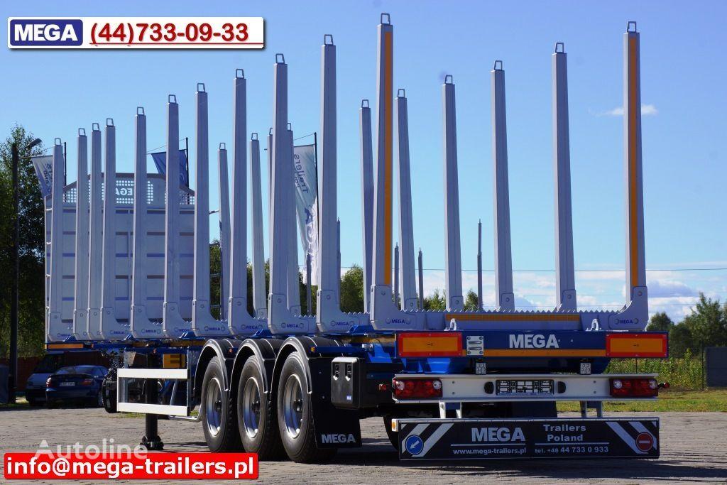 MEGA 10 U STANCHION - TIMBER SEMI-TRAILER/HOLZAUFLIEGER- READY ! BERE semiremorcă transport de lemne nouă