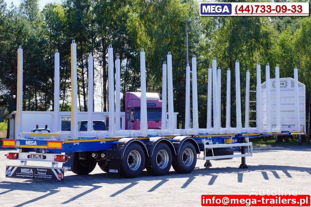 MEGA 10 U STANCHION - TIMBER SEMI-TRAILER/HOLZAUFLIEGER- READY ! BERE semiremorcă transport de lemne nouă